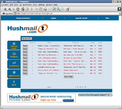 The HushMail Secure Email Applet - Click to enlarge